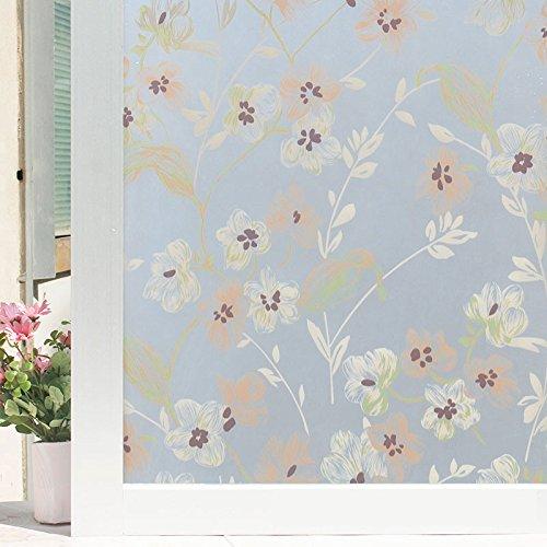 Frosted Badezimmer Glas Film mit Leim Badewanne Tür fenster Aufkleber transparent opak Fenster aus Glas, Papier, Böhmen Blume 60 cm*2 m (Böhmen Papier)