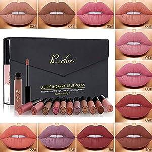 Rechoo 12 Pcs Barra de Labios Mate/Superstay Matte Pintalabios Maquillaje de Belleza Brillo Labial Terciopelo (CLASSIC GIFT)