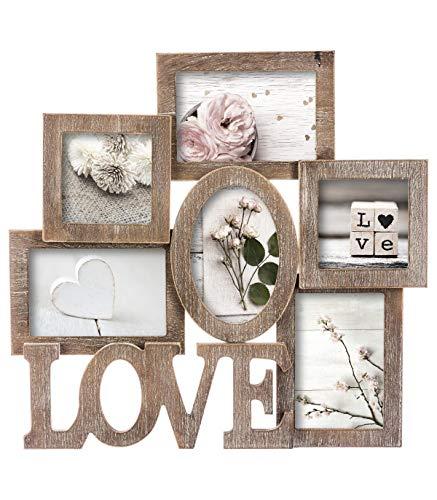 Cadre photo pêle-mêle mural - Esprit charme d'antan - Capacité 6 photos - Coloris BOIS Patiné Blanc