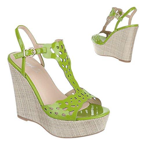 Ital-Design, s1804, Sandaletten Chaussons Ballerines Vert - Vert