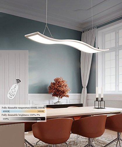 CBJKTX LED Pendelleuchte esstisch Hängeleuchte Deckenleuchte 52W Dimmbar mit Fernbedienung höhenverstellbar Eisen Hängelampe Pendellampe Wellen-Design Kronleuchte Wohnzimmerlampe (weiß-120cm)