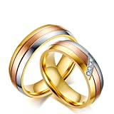 Gnzoe Herren Ringe Partnerringe Tricolor Eheringe Edelstahl Herrenringe Bandringe Gold 0.6CM mit Weiß Zirkonia Gr.62 (19.7)