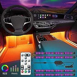 LED Innenbeleuchtung Auto, Govee Auto LED Strip Beleuchtung mit Zwei-Linien-Design, Wasserdicht Auto Innenraumbeleuchtung 48 LEDs Streifen mit Fernbedienung, Syn mit Musik Lichtband 32 Farben, 12V
