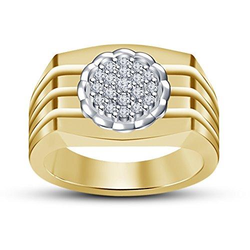 Fashion Vorra oro 14 k con zirconia cubica, in argento 925, RD attraente Men's Wedding/Engagement-Anello, (Oro Giallo Mens Wedding Band)