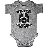 Mikalino Babybody Kurzarm Vater - ich Bin Dein Baby!, Farbe:Heather, Grösse:56