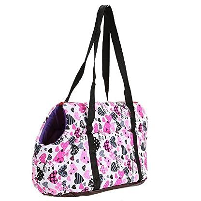 Pet Handbag Dog Canvas Carrier Bag Foldable Washable Travel Carrying Shoulder Bag for Small Medium Pets (S, White) 5
