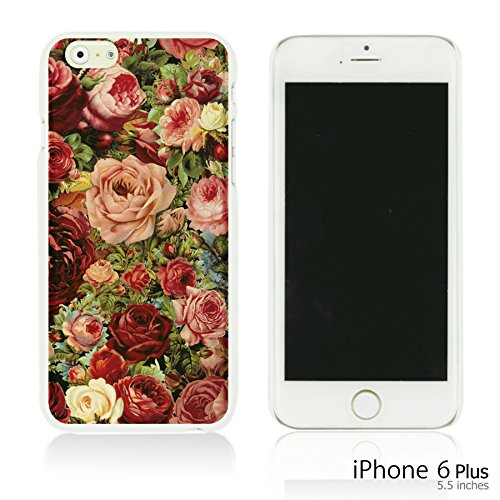 OBiDi - Fabric Pattern Hard Back Case / Housse pour Apple iPhone 6 Plus / 6S Plus (5.5)Smartphone - Pink Boho Pattern Vintage Roses Painting