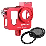 [UK Stock] PULUZ Housing Shell CNC Aluminum Alloy Protective Cage with 37mm UV Lens Filter & Lens Cap for GoPro HERO4(Red)