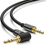 deleyCON 0,5m HQ Stereo Audio Klinken Kabel 90 Grad gewinkelt - 3,5mm Klinken Stecker zu 3,5mm Klinken Stecker (90°) - METALL - vergoldet