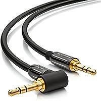 deleyCON 0,5m Klinkenkabel 3,5mm AUX Kabel Stereo Audio Kabel Klinkenstecker 1 x 90° gewinkelt für PC Laptop Handy Smartphone Tablet KFZ HiFi-Receiver schwarz