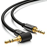 deleyCON 1m Klinkenkabel 3,5mm AUX Kabel Stereo Audio Kabel Klinkenstecker 1 x 90° gewinkelt für PC Laptop Handy Smartphone Tablet KFZ HiFi-Receiver schwarz