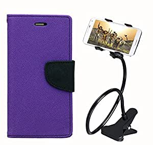 Aart Fancy Diary Card Wallet Flip Case Back Cover For Samsung A3 - (Purple) + 360 Rotating Bed Tablet Moblie Phone Holder Universal Car Holder Stand Lazy Bed Desktop for by Aart store.