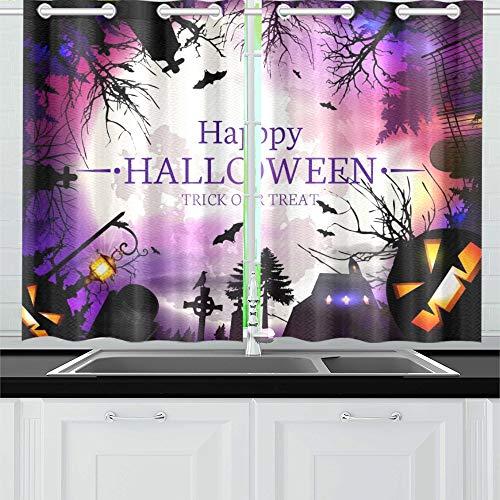 JIUCHUAN Halloween Küchenvorhänge Fenstervorhangschichten für Café, Bad, Wäscherei, Wohnzimmer Schlafzimmer 26 x 39 Zoll 2 Stück (Party-oktober 26 Halloween)