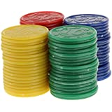 80pcs Juguetes Juegos Casino Fichas Póquer Mahjong Color Rojo Amarillo Azul Verde
