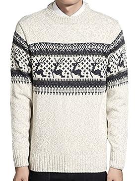 WTUS Crew Knit,Suéter de Moda de Navidad Venado para Hombre Gran Tamaño,Verde