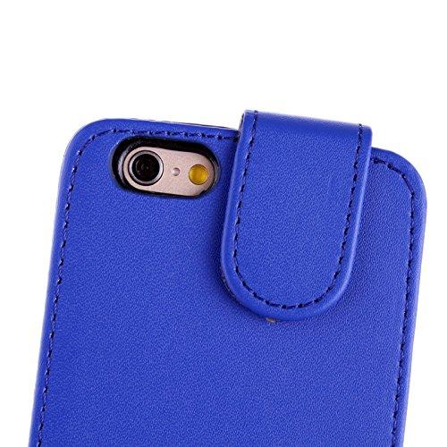 wortek Flip Case Vertikal Apple iPhone 6 4,7 Zoll Tasche Etui Pure Color Magnetverschluss Schwarz Blau