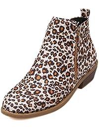 Botas de Mujer Martin Botines Retro Cremallera Plana Inferior  Antideslizante de Gran tamaño Zapatos de Martin a079665512e9