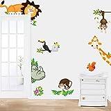 Zegeey Kinder Dschungel Thema Wandtattoo, Bunte AFFE Giraffe Löwenbaum dekorative Unisex Aufkleber für Kinder Schlafzimmer, Kindergarten, Spielzimmer Wandbild