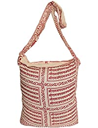 Exotic India Shoulder Jhola Bag With Sri Ram Nama Mantra - Color Cream And MaroonColor Free Size