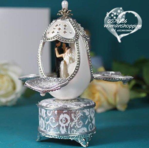 cuzit Ei Creative Music Box Carving Handwerk Musicbox Mini Eggshell Spieldosen Beste Geschenk für Hochzeit, Jahrestag, Lover, Geburtstag, Valentinstag Tages Hochzeitspaar Dance Music Box-bewegungen Handwerk