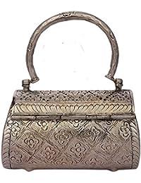 "Tjori Handcrafted Shabnam Silver Plated Metal Box Clutch Bag 6""x3.6""x2.5"""