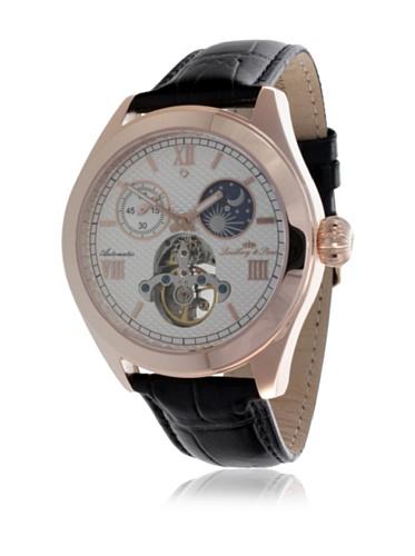 Montre homme Lindberg & Sons Automatique- Affichage Analogique bracelet Cuir Marron et Cadran Blanc G13117