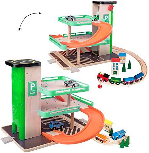 Parkhaus / Garage mit 3 Ebenen - aus Holz - incl. Fahrzeuge / Auto & Lift - passend mit Schienensystem & Eisenbahn - Holzeisenbahn - paßt zu Allen gängigen Sc..