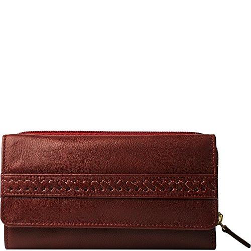 Hidesign Mina Geldbörse mit mehreren Fächern, Leder, Rot -
