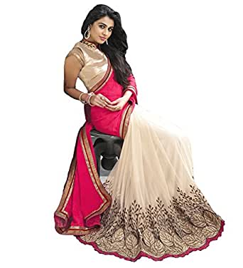 White World Women'S Georgette Saree With Blouse Piece (Pink_cut_work saree_Free Size)
