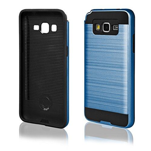 EGO® Hard Case Schutz Hülle für Samsung G530 Galaxy Grand Prime, Silber Metallic Effect Brushed Handy Cover Schale Bumper Etui Top-Qualität Blau
