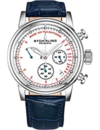 Stuhrling Original Mens Leather Watch Chronograph Pulsometer - Stainless Steel Case - Analog Dial with Date ChronoPulse Watches for Men Collection (Blue)