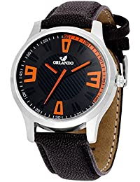 Orlando® Branded Japan Movement With Black Dial & Black Leather Belt Watches For Men - W1303BK03B