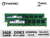 Timetec Hynix IC 16GB Kit (2x8GB) DDR3L 1600MHz PC3-12800 Unbuffered Non-ECC 1.35V CL11 2Rx8 Dual Rank 240 Pin UDIMM Bureau Mémoire RAM Module Upgrade (16GB Kit (2x8GB))