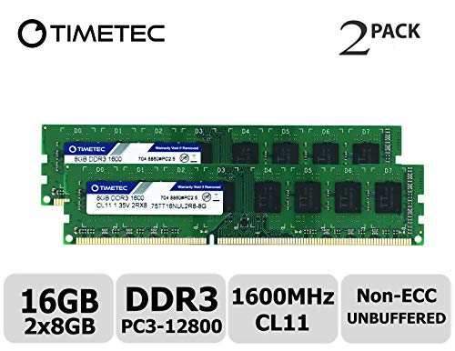 Timetec Hynix IC 16GB Kit (2x8GB) DDR3L 1600MHz PC3-12800 Unbuffered Non-ECC 1.35V CL11 2Rx8 Dual Rank 240 Pin UDIMM Desktop Arbeitsspeicher Module Upgrade (16GB Kit (2x8GB)) - Acer-ddr-speicher
