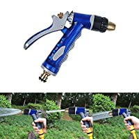 Garden Hose Spray Nozzle Car Washing Gun High Pressure Water Clean Washer Sprayer Household Copper Car Water Gun Head Sets of Water Nozzles for Watering Lawn, Flower Beds Car Pets Ground (Blue)