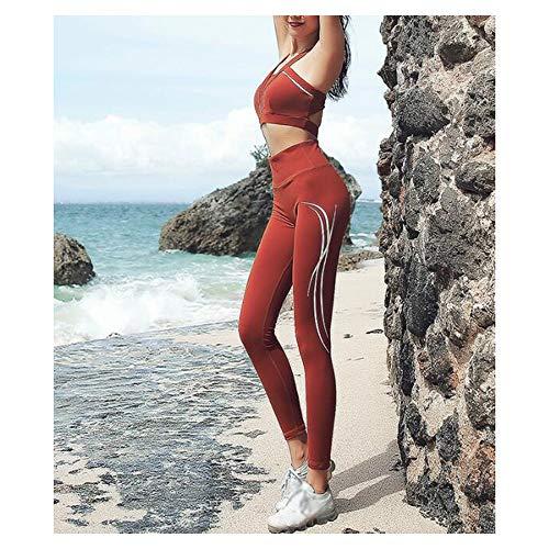 Chenyuying Frauen Yoga Set Stoß- Versammlung Schönheit zurück Sport-BH Drucken Hüften Strumpfhosen Jogginghose Zwei-teiliges Set. (Color : Caramel, Größe : XL) - 4