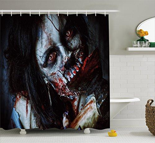 ng, Furchteinfliesende Tote Frau Zombie Blutige Axe Evil Fantasy Gothic Geheimnis Halloween Bild, Blickdicht aus Stoff inkl. 12 Ringe für das Badezimmer Waschbar, 175 X 200 cm (Halloween Bild Ideen)