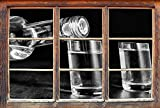 Monocrome, Dark Vodka Flaschen Alkohol Whisky Bourbon Party Schwarz-Weiss Fenster im 3D-Look, Wand- oder Türaufkleber Format: 92x62cm, Wandsticker, Wandtattoo, Wanddekoration