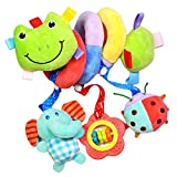 MagiDeal Cute Spiral Activity Stroller Car Seat Cot Lathe Hanging Bell Baby Play Travel Toys Newborn Baby Rattles Infant Soft Plush Toys Frog