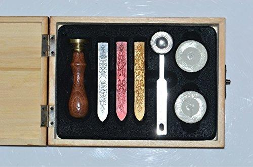 Xichen® Geschenk-Box aus Holz, Vintage-Look, mit Stempel, Siegelwachs und Buchstaben von A-Z m -