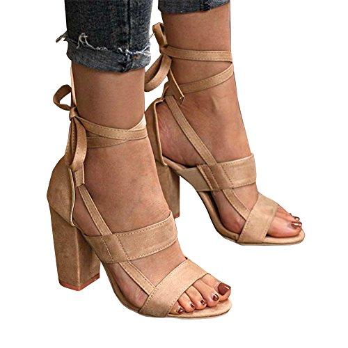 Triangke Frauen Wildleder Offene Spitze High Heels Pumps Block Ankle Strap-Sandaletten (Pumps Ankle Strap Leder)