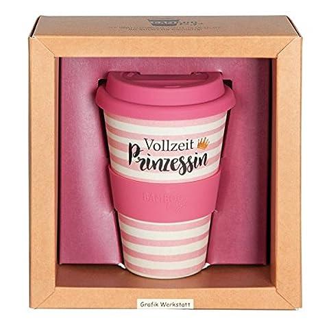 Grafik Werkstatt 60710 Bamboo-To-Go-Kaffeebecher, Vollzeit Prinzessin, Mehrfarbig, 9 x 9.5 x 14 cm