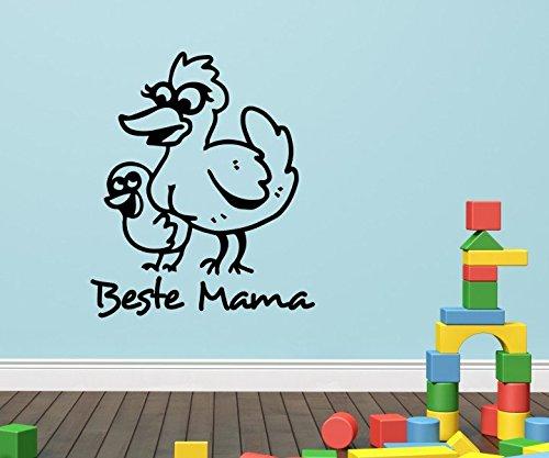 Wandtattoo Beste Mama Tür Wand Aufkleber Ente Entlein lustig Geschenk Muttertag Spruch Küche Wohnzimmer 1D192