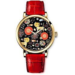 iCreat Women Ladies Girls Analog Wrist Watch Red Genuine Leather Strap Dial with Flower Cat And Fish Cute