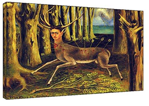 The wounded von Frida Kahlo Druck auf Holz, gerahmt, Kunstdruck auf Leinwand, Reh, 30 x 24 inch(76 x 60 cm)-38mm depth -