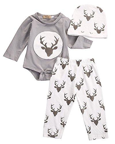 Neugeborene Baby Jungen Mädchen Deer Outfit Kleidung Tops Strampler + Hose Hat 3Set Gr. 0-3 Monate, grau