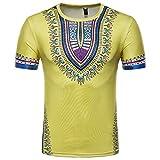 T-Shirt per Uomo, Maglietta A Maniche Corte T-Shirt Uomo Divertenti T-Shirt Girocollo Stile Folk in Stile Africano Qinsling