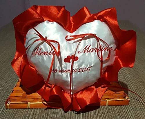 Crociedelizie, Cuscino Fedi Cuscinetto Portafedi volant Raso Ricamo Personalizzato Nomi Sposi + Data Matrimonio + piccoli cuori centrali + dedica sul retro