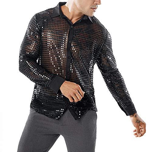 LSAltd Mode Männer Neue Sexy Pailletten Aushöhlen Perspektive Clubwear Party T-Shirt Bluse Männlich Gut Aussehend Einfarbig Reverskragen Langarmshirts Pullover