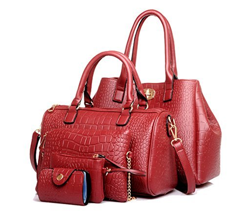 (Tibes Art und Weise Luxux PU lederner Handtaschen Tote Schulter Beutel Geldbeutel Kartenhalter 5pcs gesetztes Handtasche für Frauen/Mädchen/Damen Weinrot)